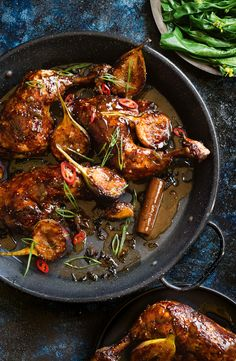 Twice-Cooked Chicken with Sticky Fig Glaze : taste au Healthy Chicken Recipes, Turkey Recipes, Dinner Recipes, Cooking Recipes, Cooking Beef, Fig Recipes, Meal Recipes, Sausage Recipes, How To Cook Chicken