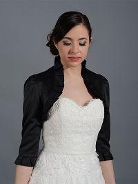 Black 3/4 sleeve satin wedding bolero jacket Satin008_b