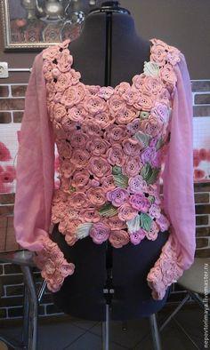 Купить Розовый рассвет - разноцветный, вискоза, вискозный трикотаж, листья розы, цветы розы