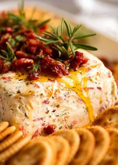 Close up of Christmas Appetiser Italian Cheese Log with sun dried tomato, festive starter for holiday entertaining. Cheese Log, Cheese Ball, Italian Appetizers, Appetizer Recipes, Italian Antipasto, Snack Recipes, Appetizer Party, Cold Appetizers, Cheese Appetizers