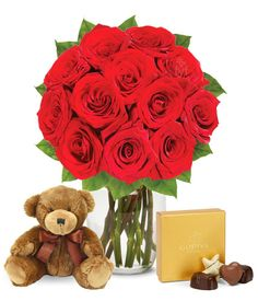 One Dozen Red Roses with Chocolates and a Bear (FREE Vase Included) – Valentine's Flowers Gift  ---  Price : $99.99   ----   Total Reviews :  -> http://girlwardrobe.com/?post_type=product&p=2313