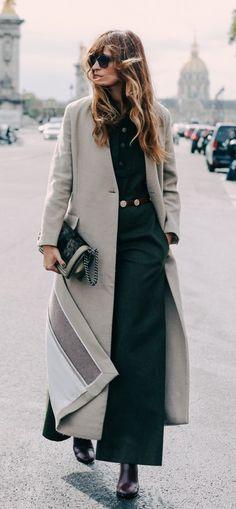 Grey duster coat | Street style