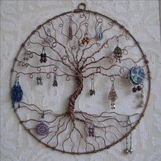 Earring Tree, Copper Tree of life, wall hanging, wall art, earring holder, jewelry display, earring display. $125.00, via Etsy.