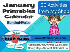 JANUARY ACTIVITY CALENDAR from RFTSPreschool on TeachersNotebook.com -  (413 pages)  - JANUARY ACTIVITY CALENDAR 413 Pages I have bundled together 20 of my January activities exclusively for (YOU my fans and followers!! No Guesswork! It�s ready, simple to follow and implement in your classrooms. Simply Print-n-Go! Each day of the month feat