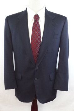 #theSmartShoppe Stafford Mens 40 R Navy Blue Pinstriped 2 Button Suit Jacket Blazer  #Stafford #TwoButton