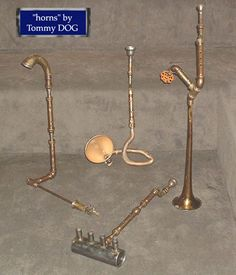 Experimental musical horns created by sound and noise artist Tommy DOG, experimental music