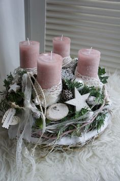 "Advent Wreath - Advent Wreath ""Kissed by Angels ."" – ein Designerstück von … Advent Wreath – Advent Wreath ""Kissed by Angels …."" – a unique product by Hoimeliges on DaWanda - Christmas Advent Wreath, Christmas Candle Decorations, Advent Candles, Christmas Arrangements, Christmas Tablescapes, Christmas Candles, Rustic Christmas, Simple Christmas, Cheap Christmas"