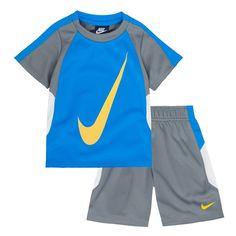 Boys 4-7 Nike Swoosh Tee & Shorts Set, Med Blue