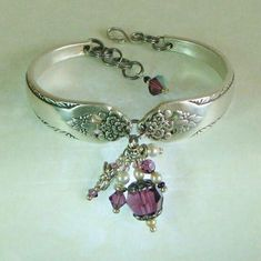 Silver Spoon Bracelet, Lovely Lady 1937, Purple Crystals, Dragonfly & White…