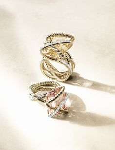 Cable Wrap rings with gemstones and diamonds.