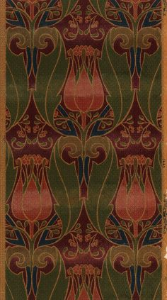 This Art Nouveau wallpaper features tulips and foliate scrolls. It was machine printed by Imperial Wallcoverings between 1900 and 1910.