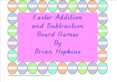 FREEBIE Easter Addition and Subtraction Board Games. No Prep. Just add one die (dice) and give kids a playing piece!