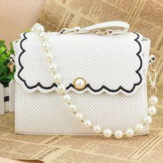 2015 women messenger bags polka dot pearl shaping women handbags flower female shoulder bags leather handbag free shipping TB52