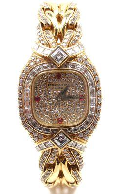Unworn! Authentic Patek Philippe 18k Yellow Gold Diamond Ruby Ladies Watch 4808 #PatekPhilippe #Dress