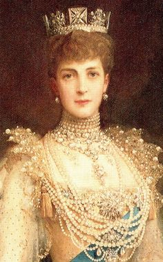 """My third cousin, HM Queen Alexandra (1844-1925) in pearls. """"Alix"""", as she was called in the family, was a Danish princess descended from the House of Schleswig-Holstein Sonderburg-Glucksburg."""