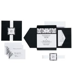DIY Invitation Kit Makes 25-Black and White Scroll Monogram at Joann's $34.99 includes invitations, response cards, reception cards, 150 for $209.94