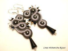Soutache earrings for beginners. Black soutache earrings with Swaorvski elements.