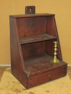 VERY RARE EARLY 19TH C SHAKER TYPE HANGING CHERRY LIGHTING CUPBOARD WITH DRAWER.   Sold  Ebay  720.00