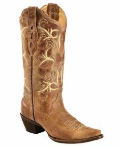 Corral Burnished Embroidered Cowgirl Boots - Snip Toe