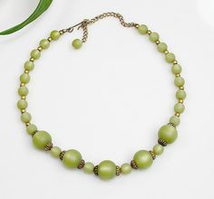 Vintage Green Beaded Choker Necklace Moon Glow Lucite Beads ~ Retro Holiday Gift #Beaded