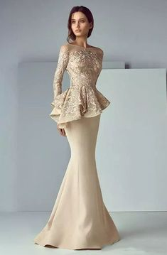 a9a47ab1fa59a High Neck Mermaid Floor-length Sweep Brush Train Long Sleeve Lace Evening  Dress with Zipper Back