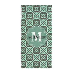 Gray and Mint Trellis Custom Monogram Beach Towel