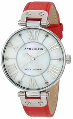 Anne Klein Women's 10/9919MPRD Silver-Tone Red Leather Strap Watch Anne Klein. $54.95. Genuine mother-of -pearl dial with silver-tone applied roman ii, iv, vi, viii, x & xii. Oversized silver-tone 34.3mm round case. Silver-tone applied stick markers with glitter filled tips. Red leather strap with stainless steel buckle closure. Water-resistant up to 100 ft.