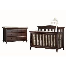 Pali Designs Mantova Forever Crib and Double Dresser - Chocolate
