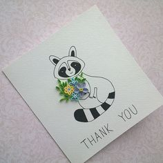 Paper Thank You Card, handmade Thank You Card quilled card, Paper Quilling Card