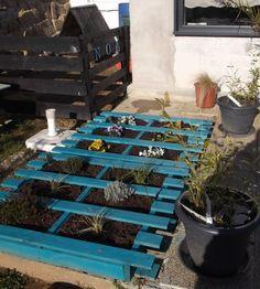 déco pour les plantes de jardin à l'aide d'une palette en bois