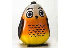 So cute - FolkArt Candy Corn Owl Pumpkin - No carving ideas for #halloween decor - FolkArt Paints #plaidcrafts