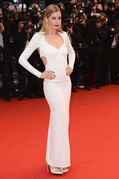 red carpet dress, red carpet, white evening dress, long sleeves dress, formal dress