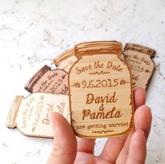 Wood Save-the-Date magnets, mason jar magnets, wooden save the date magnets, engraved magnets, rustic save the dates by CorkCountryCottage on Etsy https://www.etsy.com/listing/248315382/wood-save-the-date-magnets-mason-jar