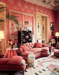 In the Red Salon, the original 1920s Franck paneling is hung with custom Lyonnaise silk.