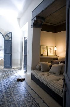 """Build out the sides of the nook to be more like architecture/columns, add shelving and lighting behind the """"small wall"""" Nook lounge at Riad Tarabel, Marrakech, Morocco Interior Architecture, Interior And Exterior, Interior Design, Design Hotel, House Design, Design Marocain, Riad Marrakech, Sweet Home, Moroccan Interiors"""
