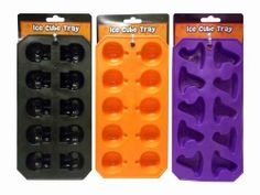 Assorted Halloween Silicone Ice Cube Trays Set of 3 by BWH. $7.75. Each tray makes 10 ice cubes.. Assorted, Set of 3. Style: (1) Pumpkin, (1) Skeleton, (1) Witches Hat. Made of silicone.. Not Recommended for Dishwasher Use.. Help your guests cool down this Halloween season with this set of Silicone Ice Trays. Just fill, freeze and invert the silicone mold to release. Great for parties or just a fun way to enjoy a beverage. You can't go wrong with this spook-tacu...