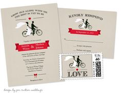 Bicycle Wedding Invitations with matching RSVP cards and postage by PM Custom Weddings - featured at Party Simplicity!  #bicycle #weddings $2.20 - price discounted with higher quantities.