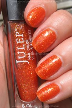 Julep Kyla - coral orange glitter