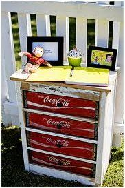 Coca Cola crates.... If you can build things and then use old coke crates for the drawers.