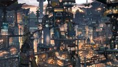 Wheres Waldo style future city art Steampunk City, Ville Steampunk, Cyberpunk 2020, Futuristic City, Cyberpunk Anime, Future City, City Art, Blade Runner, Konoha Village