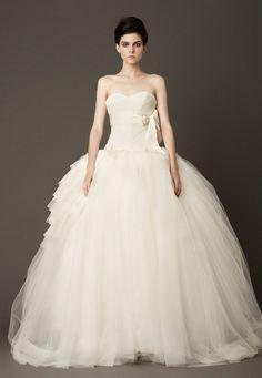 Vera Wang white no strap fluffy wedding dress #bridesmaid #bridal #wedding #girls #formal #black #dress #dresses #long #fashion #casual #printed #evening #long #short #blue #white #red #shoes #mariage #couture #wedding dress #new #bride