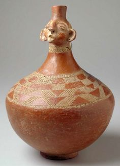Africa | Ceremonial vessel from the Luba people of DR Congo | Late 19th century | Terracotta and wire