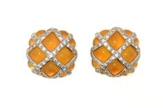 Vintage Valentino Earrings Yellow Clip On by HirstAntiques on Etsy
