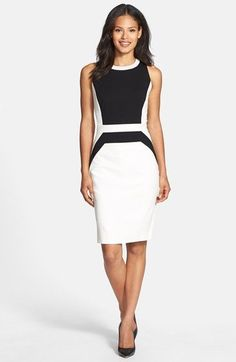 Classiques Entier® Italian Ponte Colorblock Dress available at #Nordstrom
