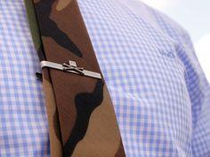 Skull tie clip bar camo camouflage