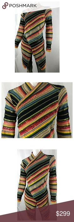 Ralph Lauren Open Front Indian Southwestern Delicate crocheting delivers a distressed look to this lightweight draped cardigan lined in vibrantly colored stripes. Perfect for the holidays or any occasion you wish to impress. Ralph Lauren Sweaters Cardigans