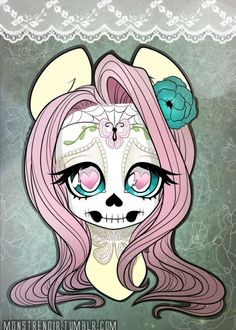 very nice flutter shy day of the dead art!vary goth!very me!but to be more me it would need to be rainbow dash...still cool!