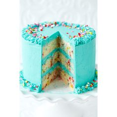 Frosted Funfetti Layer Cake ❤ liked on Polyvore featuring food, backgrounds, birthday and pictures