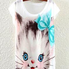 Cartoon Totoro Cats Owl Print Women's T Shirts Animal Print Cotton Batwing Sleeve T-Shirt tshirt Plus Size Tops & Tees Shirts