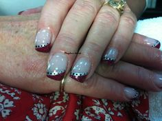Red nails / Christmas nails / red french manicure / silver design / ongles rouges / ongles de noel / mancure Français rouge / design argents /nails art / nails design / ongles laval